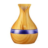 300ml Aroma Essential Oil Diffuser Ultrasonic Air Humidifier With Wood Grain 7 Color Changing LED Lights