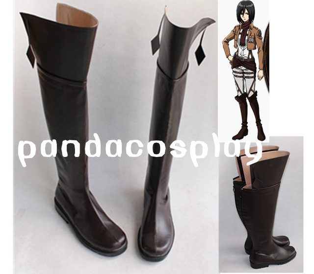 Attack on Titan Ackerman Eren Jaeger Mission of all the roles  Cosplay Shoes Boots Custom Made Over-the-knee Brown