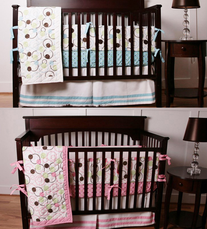 8 Pc bedroom newborn baby crib bedding set for girls,circle pink quality infant cot nursery bedding plush blanket blue for boy