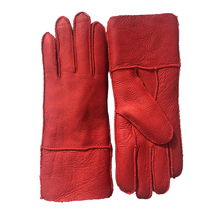 Women Winter Leather Gloves New 100% Real  Sheepskin Ladies Warm & Mittens Thicken Hand Warmer Red N32