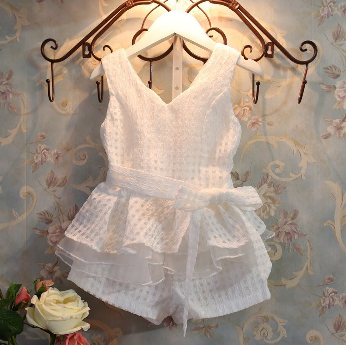 Alice Girls clothing set gentlewomen small plaid set for girls summer suits cotton T-shirt +pant children set 2