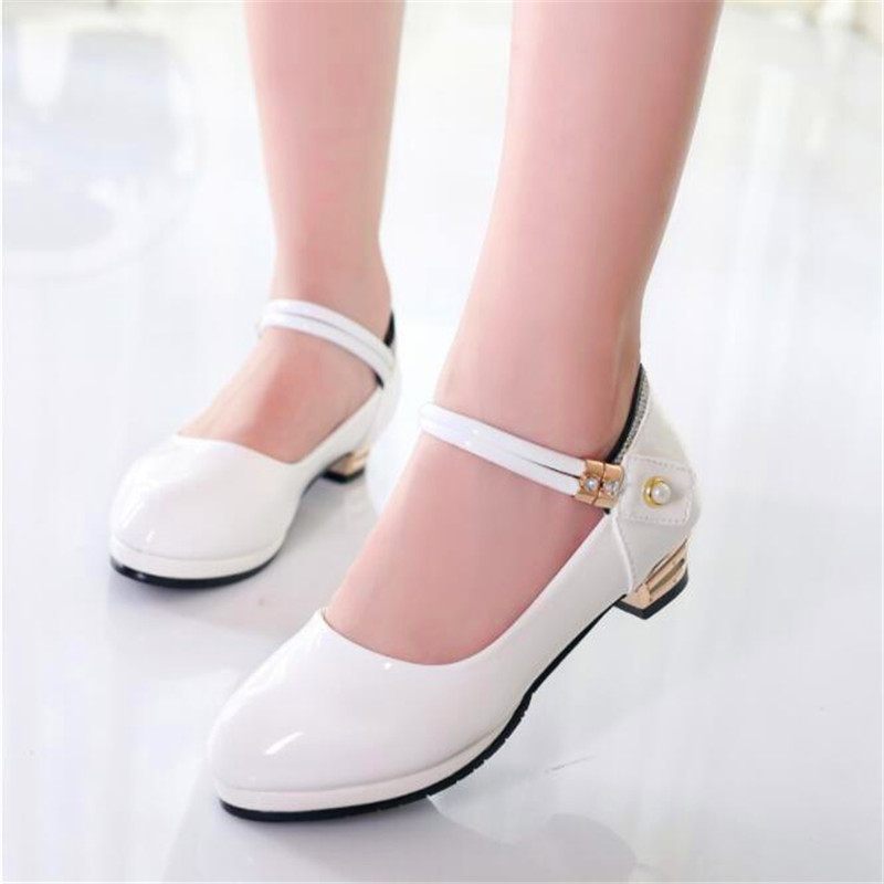 Beautiful Girls Princess High-heeled Black Patent Leather Baby Toddler Student Performance Leather Shoes Kids White Dance Shoes