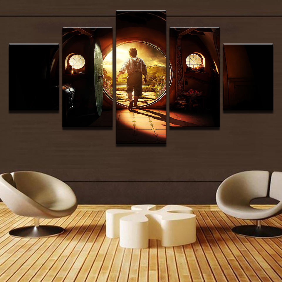 Canvas pictures home decor wall art 5 pieces lord of the - Living room wall decor pictures ...