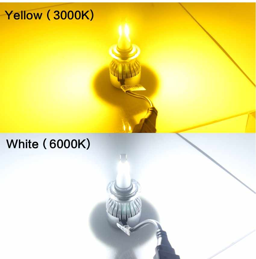 PAMPSEE 1 pair C6 H7 H4 LED H13 H11 H1 9005 9006 HB3 H3 COB 72W 7600LM 3000K yellow Car Headlights Bulb HeadLamp Fog Light