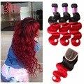 Peruvian Ombre Body Wave Grade 8a Virgin Hair With Closure 3 Bundles With Closure Red Ombre Hair extensions With Closure
