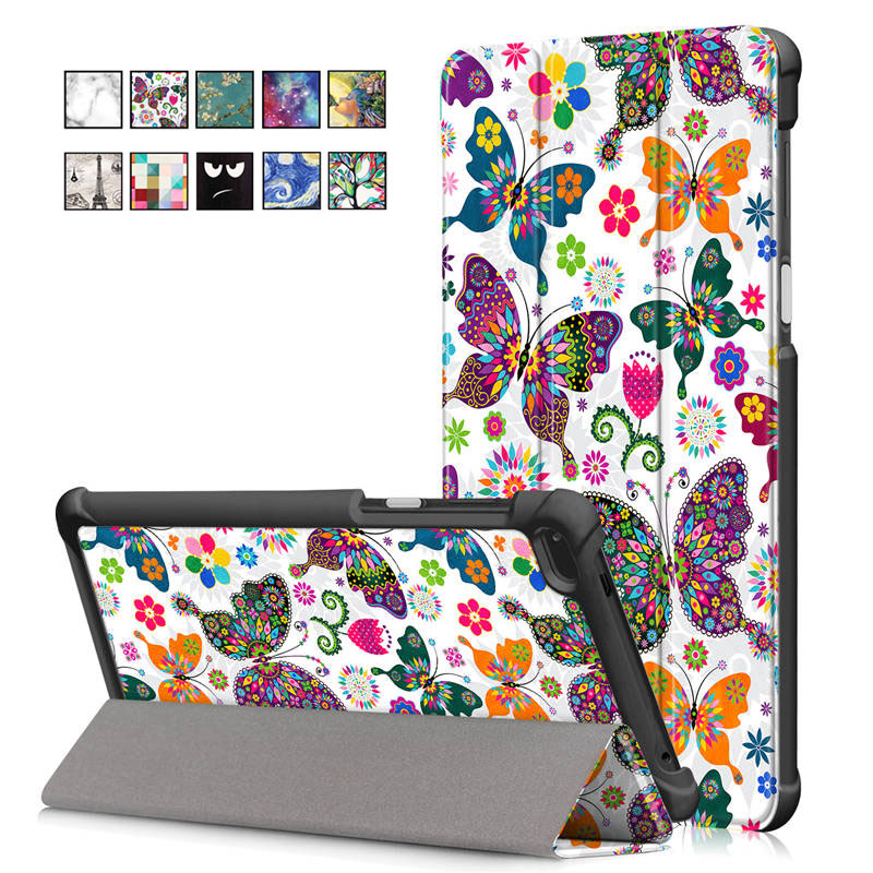 Folding Folio <font><b>Case</b></font> <font><b>for</b></font> <font><b>Lenovo</b></font> <font><b>Tab</b></font> <font><b>7</b></font>/Tab4 <font><b>7</b></font> <font><b>Tablet</b></font> Cover PU Leahter Painted Protective Skin <font><b>for</b></font> TB-7504F/TB-7504N/TB-<font><b>7504X</b></font> image