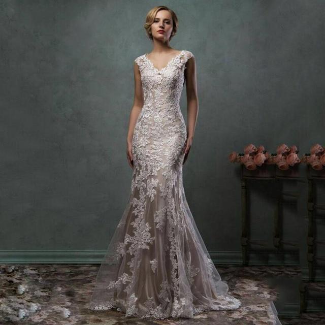 illustion romántico estampado de flores de encaje vestidos de novia