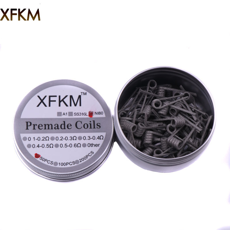 XFKM 50pcs Super Alien Clapton Coil two core fused clapton juggernaut Heating Wire Vape Resistance Premade Coil Prebuilt Coil kanger clapton coil 0 5ohm resistance stainless steel case kanthal wire janpan cotton for subtank toptank nebox