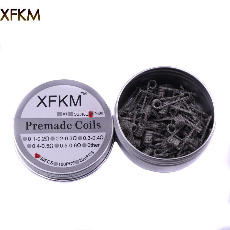 XFKM 50pcs Super Alien Clapton Coil two core fused clapton juggernaut Heating Wire Vape Resistance Premade Coil Prebuilt Coil