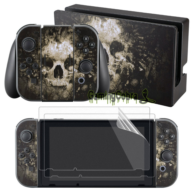 eXtremeRate Skulls Skin Sticker Covers for Nintendo Switch Console Joy-con wisth