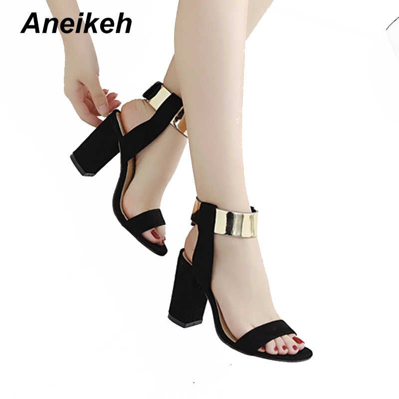 Aneikeh 2018 New Style Women s T-stage Square Sandals Sequined Ankle Strap  Summer Casual Shoes aa3575f50714