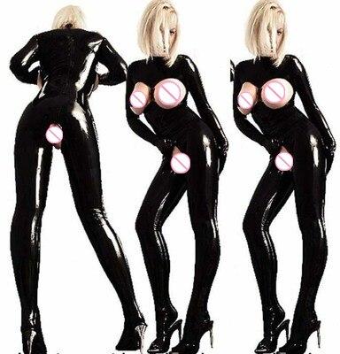 Buy 2018  Women Sexy Sleeveless PVC Latex Catsuit Black Faux Leather Bodysuit Crotch Zipper Jumpsuit Costumes Game Uniforms