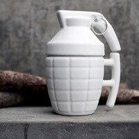 Granada de Mano de la novedad Creativa Taza de Cerámica de Diseño de Agua Mango Oficina Taza de Té de Porcelana Tazas de Café Con Tapa