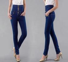 S-6XL Плюс размер женские джинсы женские высокая талия Тонкая джинсовые брюки Женские длинные брюки T417