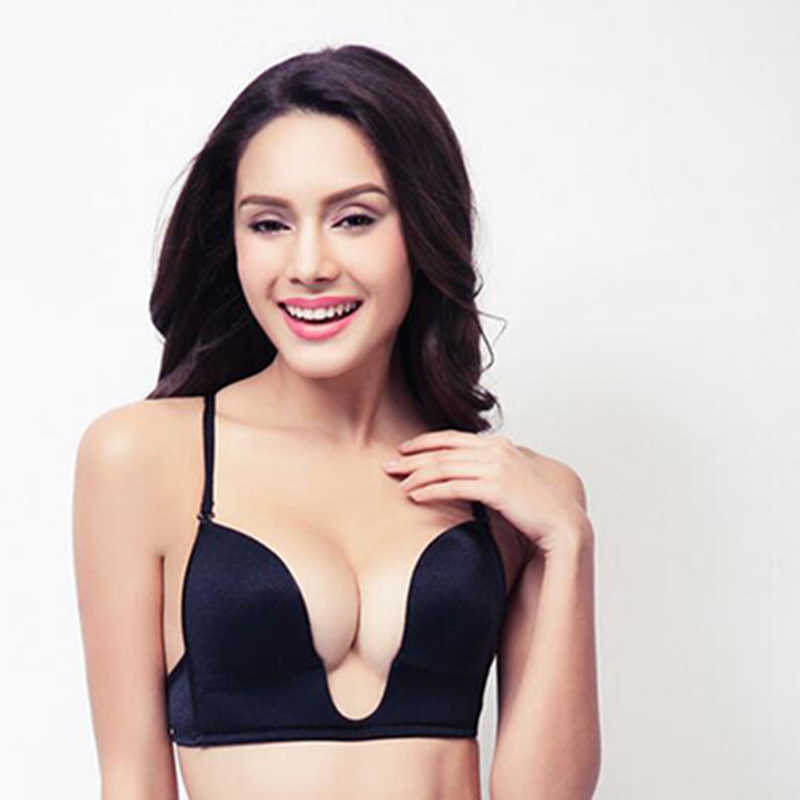 f721c3d14 New Fashion Deep Plunge U Women Bras Sexy Seamless blackless Adjustable  Convertible Straps Khaki Black