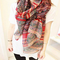 New Arrival Korean National Wind Printing Scarf Shawls Dual Long  Paragraph Cotton Scarf Red  Oct18