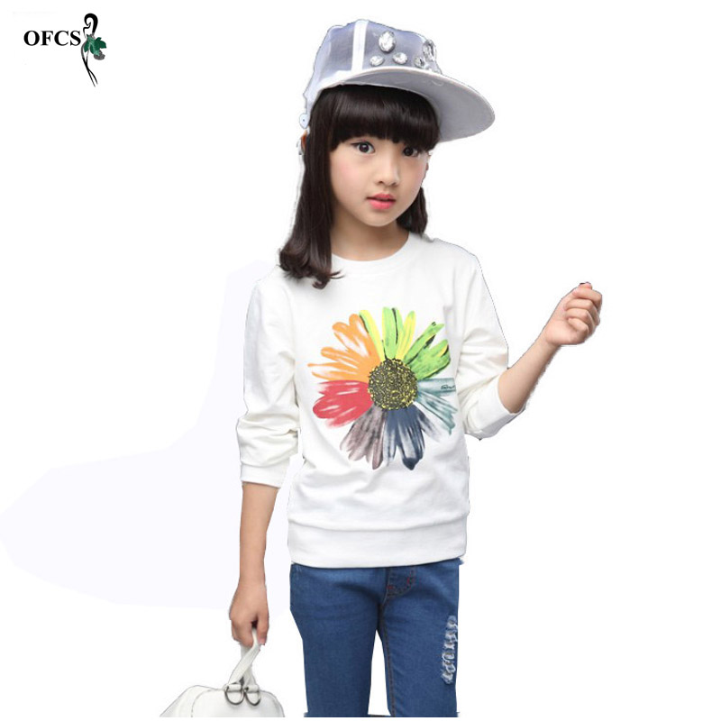 Retail Spring Girls Pullover Kids Clothes Sunflower Sweater Print Outfits T-shirt Beautiful Long Sleeve Children Clothing 3-15 T