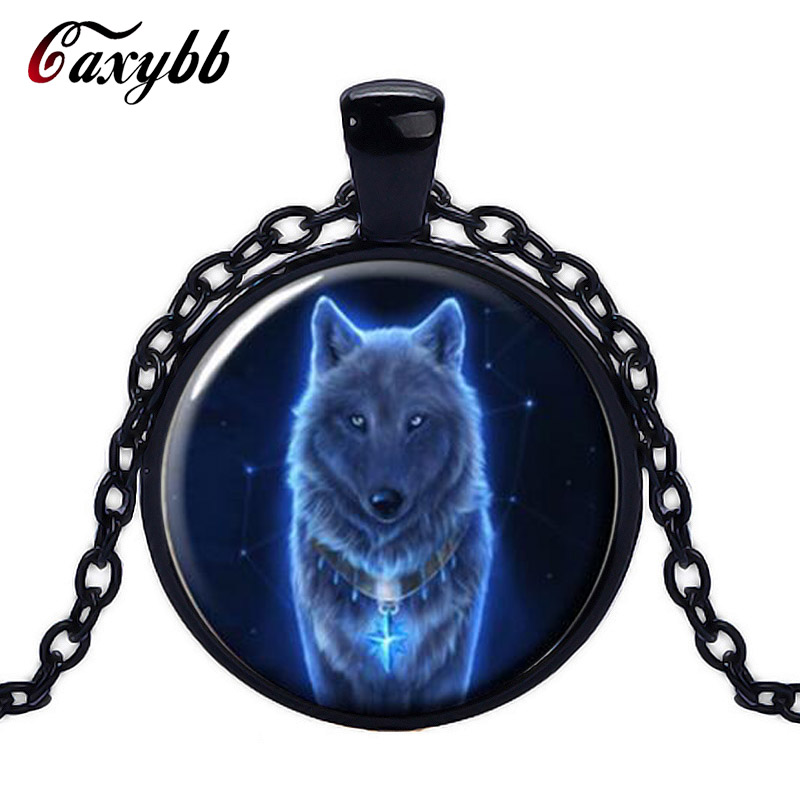 Caxybb Brand Vintage Glowing Wolf Cabochon Tibetan silver Glass Chain Unisex Pendant Necklace free shipping