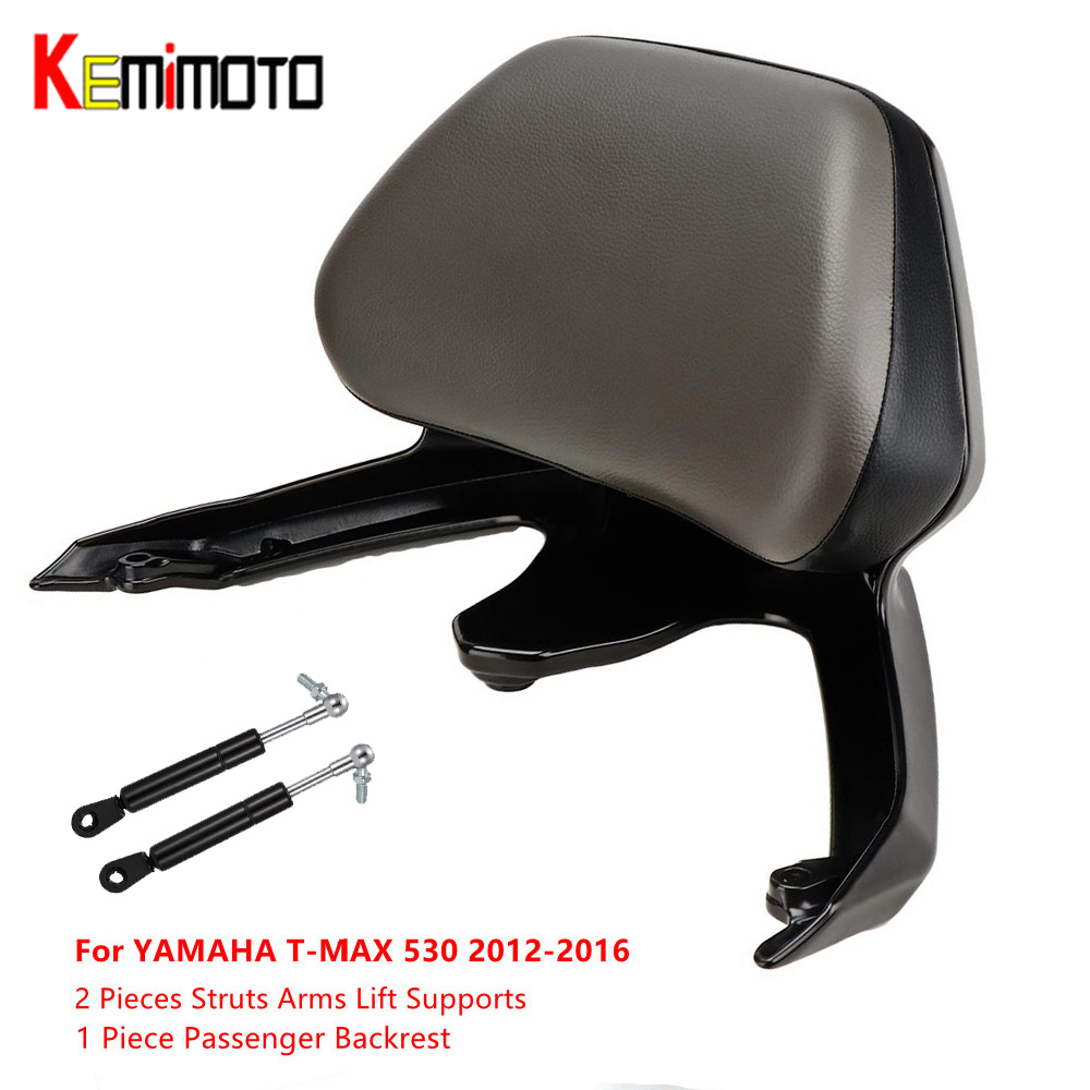 KEMiMOTO Motorcycle Accessories Passenger Backrest and 2 Pieces Struts Arms Lift Supports For YAMAHA T-MAX TMAX 530 2012 - 2016 feu led tmax 530