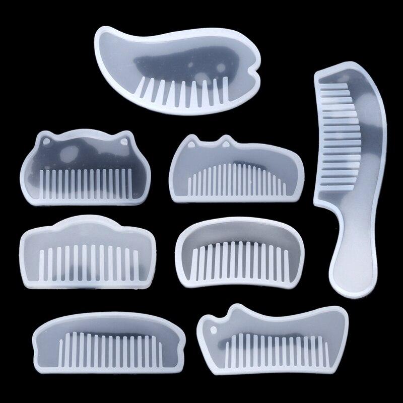 3d transparente uv resina silicone pente molde de resina cola epoxy moldes para diy jóias que fazem ferramentas resina moldes melicone chrismas presentes