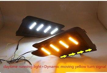 Qirun led drl daytime running light for honda Jade 2017-2018 with Dynamic moving yellow turn signal and blue night running light