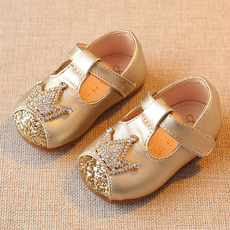 Gold Pink Baby First Walk Shoes Rhinestone Baby Girl Birthday Shoes Baby Toddler Soft Bottom Shoes Baby Girl Shoes For Party A
