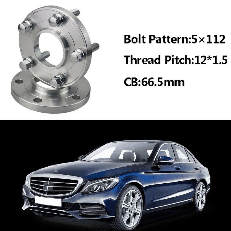 2 pièces 5x112 66.5CB Centric Entretoise De Roue Moyeux M12 * 1.5 Boulons Pour Benz Classe C W202 W203 SLK R170/171 Une Classe W168 Classe E W210 W214