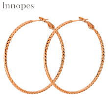 Innopes korea fashion classic gold twisted hoop earrings for women titanium piercing  bright star part