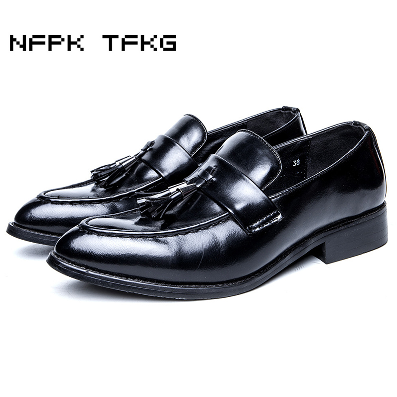 new fashion men wedding party soft leather tassel shoes slip-on lazy driving oxfords shoe pointed toe breathable loafers sapatos 2017 new spring imported leather men s shoes white eather shoes breathable sneaker fashion men casual shoes