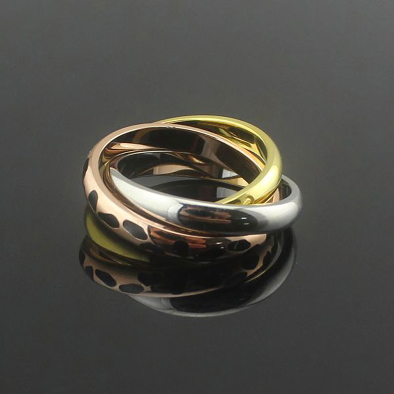 Brand High Quality 316L titanium steel Leopard Mix Three Color Love Carter Rings for Lover wedding Ring Pulseira feminina Gift