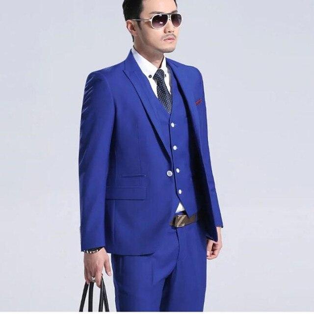 Classic Royal Blue Groom Tuxedos Cheap Slim Fit custom made men ...