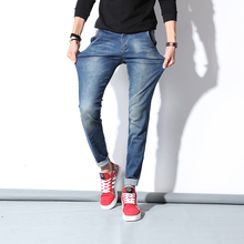 Men's Jeans Blue High Stretch Denim Brand Men Jeans  Casual Straight Denim Jeans Pants Business Relax Trousers Pantacourt Homme