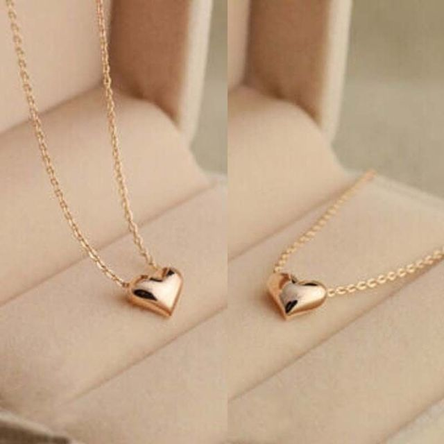 Hot Popular 1pc Simple Design Exquisite Gold Color Chain Heart Love