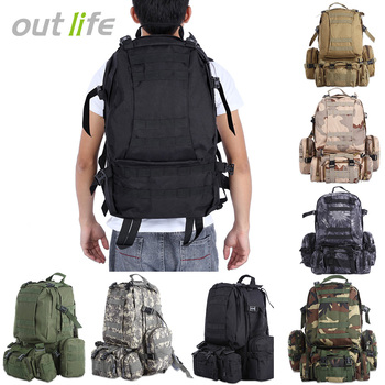 86d969757 Outlife 50L mochila táctica militar Molle bolso al aire libre mochila  Camping de senderismo Trekking mochila de camuflaje bolsa de deporte de los  hombres