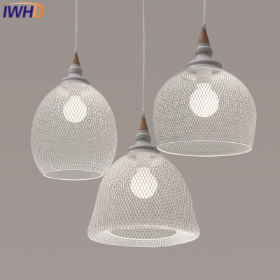 IWHD Fer Suspension Luminaire Moderne Pendentif Lampe Led Blanc Cage ...