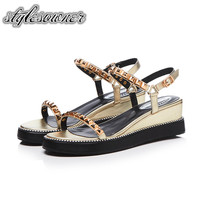 Stylesowner Popular Trends Good Quality Wedge Shoes Female Sandals High Heels 5cm Gold and Silver Cow Leather Sandals for Woman