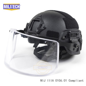 Image 3 - MILITECH NIJ IIIA 3A Bulletproof Visor for PASGT ACH FAST Picatinny Railed Helmet Ballistic Visor For Tactical Rail Helmets