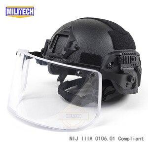 Image 3 - MILITECH NIJ IIIA 3A Bulletproof Vizier voor PASGT ACH SNELLE Picatinny Schold Helm Ballistische Vizier Voor Tactical Rail Helmen