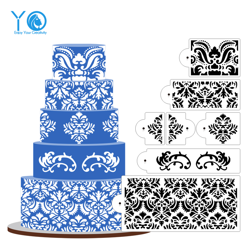 How To Use Damask Stencil On Fondant Cake