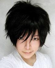 hot deal buy  100% brand new high quality fashion picture full lace wigs>>charming orihara izaya cosplay short black hair wig wigs for women