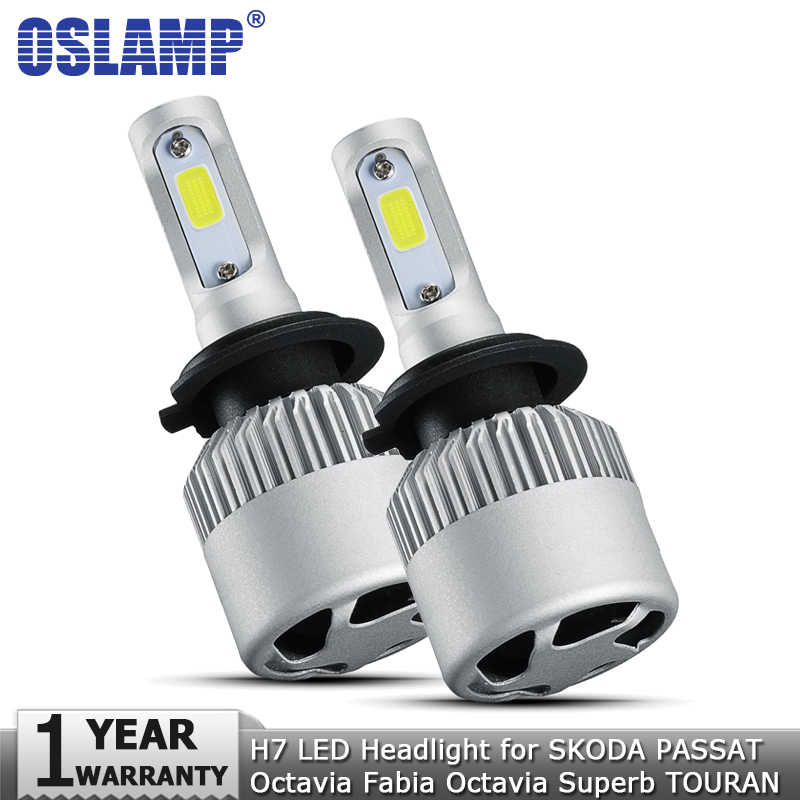 Oslamp H7 LED Headlight Bulb COB 72W 8000lm 12v 24v Auto Headlamp Car Light for SKODA PASSAT Octavia Fabia Octavia Superb TOURAN