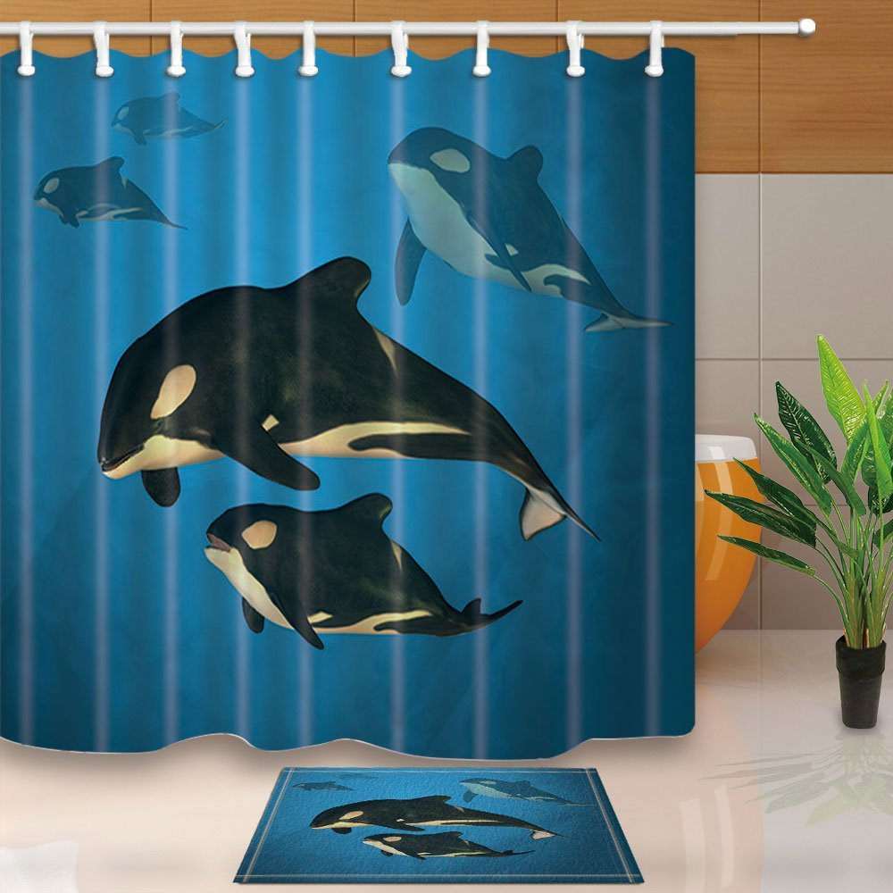 Underwater Animals Decor, A family of Orca Whales Swimming in the Ocean 69X70in Polyester Fabric Shower Curtain Suit