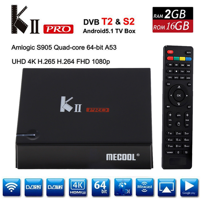 KII Pro DVB-T2 + DVB-S2 Android 5.1 TV Box 2G/16G Amlogic S905 Quad-core 4K*2K 2.4G&5G Dual Wifi BT4.0 KIIpro Smart Media Player mx plus amlogic s905 smart tv box 4k android 5 1 1 quad core 1g 8g wifi dlna потокового tv box