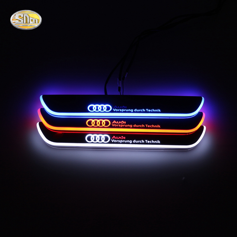 SNCN LED moving light scuff pedal for Audi A4 S4 RS4 B9 2013 2014 2015 acrylic led door sill welcome pedal free ship rear door of high quality acrylic moving led welcome scuff plate pedal door sill for 2013 2014 2015 audi a4 b9 s4 rs4