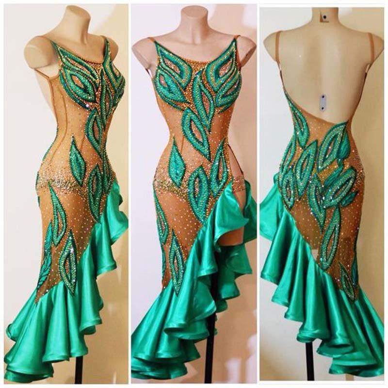 Lady Performance Dress Women Latin Dance Clothes Latin Dance Dress Girls Stones Tassel Latin Dance Dresses Custom Made