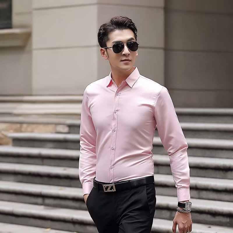 Высокое качество, классический стиль, бамбуковое волокно, мужская рубашка, сплошной цвет, мужские рубашки, одежда для офиса, простой уход (обычная посадка)