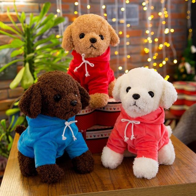 18cm Cute Simulation Puppy Kids Dolls Curly Plush Teddy Dog Stuffed Pet Soft Anime Toys For Children Birthday Christmas Gifts 2