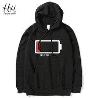 HanHent HELP ME Energy Low Hoodies Men Hip Hop Streetwear Printed Sweatshirts Male Fashion Creative Funny
