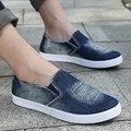 Hombres de Deslizamiento En Los Zapatos de Lona de Mezclilla Zapatos Ocasionales Planos de Los Hombres 2017 Zapatillas Hombre Caminando Zapatos de Conducción Chaussure Homme