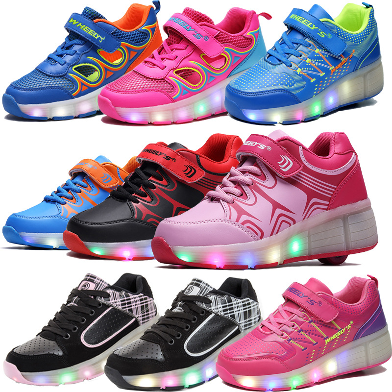 aecdd285811b10 New Child Jazzy Junior Girls Boys Glowing LED Lighted Shoes Children Roller  Skate Wheels Sport Led Shoes Adults Kids Sneakers